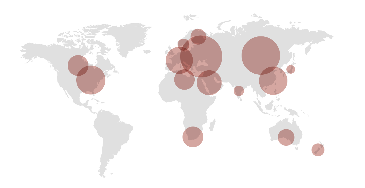 World map with international activities of the H&F Group.